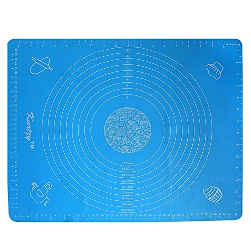 Silicone Rolling Mat - Non Stick Pastry Mat by Kurtzy - Pastry Rolling Mat for Cake Decorating, Pastry & Cookies - Blue Fondant Sheet with Measuring Guide - Dishwasher Safe