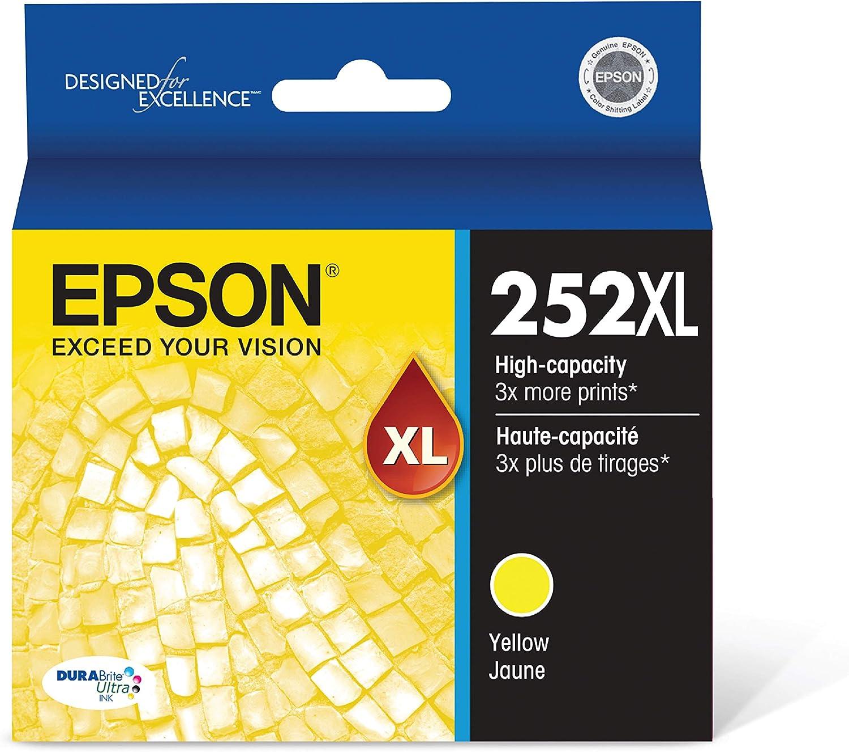 Epson T252XL420 252XL WorkForce WF-3620 3640 7110 7210 7610 7620 7710 7720 Ink Cartridge (Yellow) in Retail Packaging