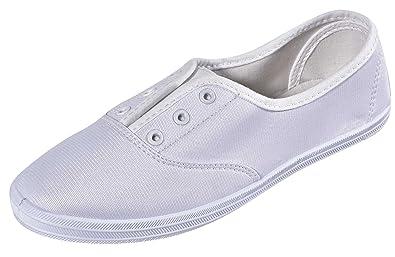 b6b9aff593c Cambridge Select Women s Closed Round Toe Stretch Elastic No Lace Slip-On  Flat Plimsoll Fashion