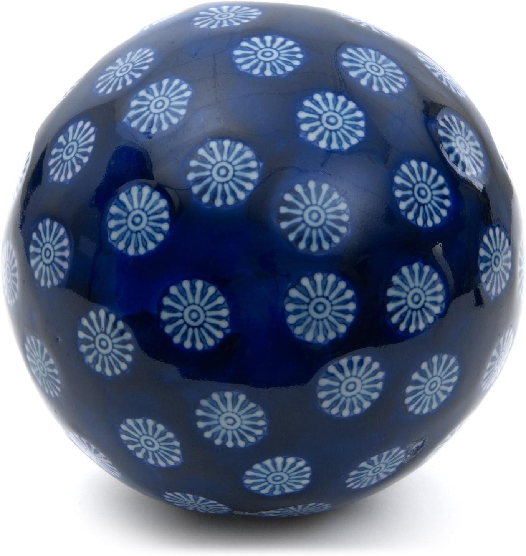 "Oriental Furniture 6"" Decorative Porcelain Ball - Blue w/ White Stars"