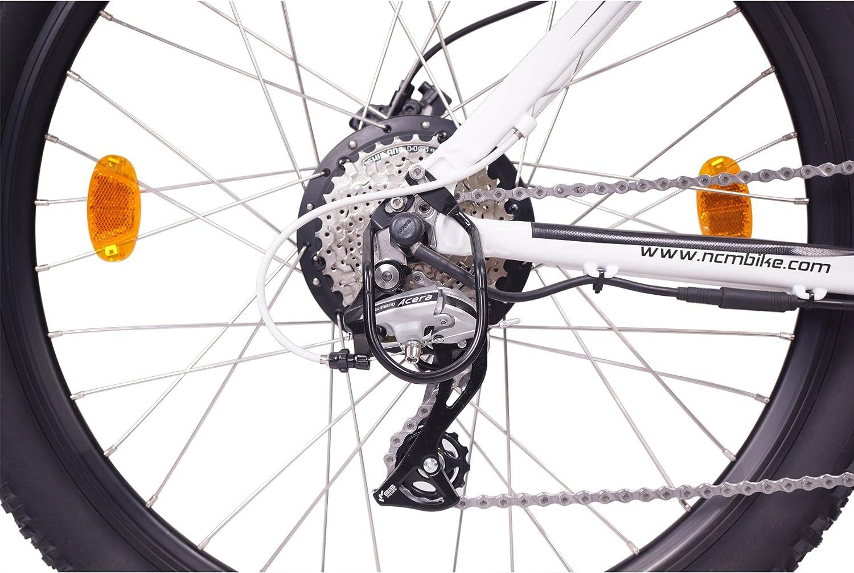 250W Bafang Heckmotor wei/ß Designer Rahmen 14Ah 504Wh Akku NCM Prague+ 36V 26 Zoll E-MTB 24 Gang Schaltung Mountainbike E-Bike Panasonic Li-Ion Zellen hydraulische Tektro Scheibenbremsen