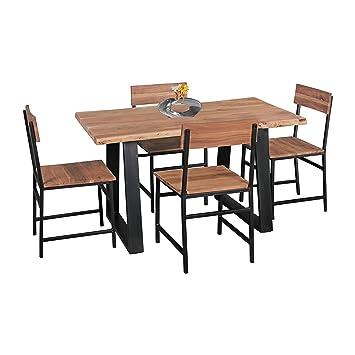Wohnling Esszimmer-Tisch Baumstamm Massivholz Akazie, 120 x 76 x 60 ...
