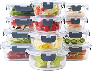 elabo 24-Piece Glass Food Storage Containers Set with Lids - Airtight Leak Proof Glass Meal Prep Containers, BPA Free Bento Lunch Boxes, Freezer/Oven/Dishwasher Safe(12 Lids & 12 Containers)