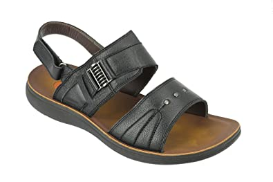 f1cfa9e455594 New Mens Big Size Real Leather Sandals Wide Open Toe Adjustable Strap  Slippers in Black Brown