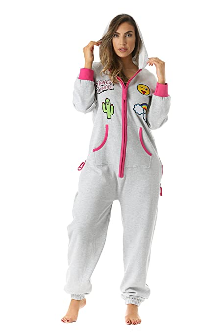 Women Adult Onesie With Patches One Piece Hooded Casual Pajamas Jumpsuit  Emoji Gift Birthdday Christmas 7c30e9344