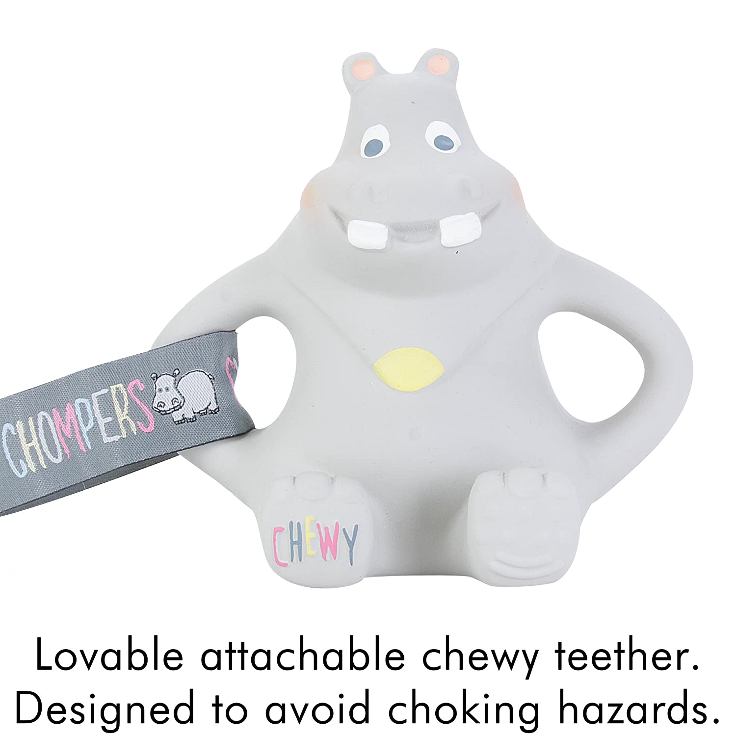 Cheeky Chompers Chewy The Hippo Teether Gentle Latex Soft Toy Excellent For Teething Co Uk Baby