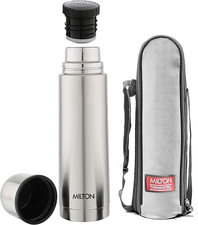 Milton Thermosteel Plain Lid 1000 Flask , 1 Ltr, Silver