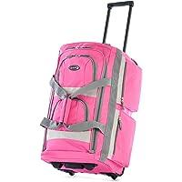 Olympia Luggage Sports Plus 22 Inch 8 Pocket Rolling Duffel Bag (Pink)
