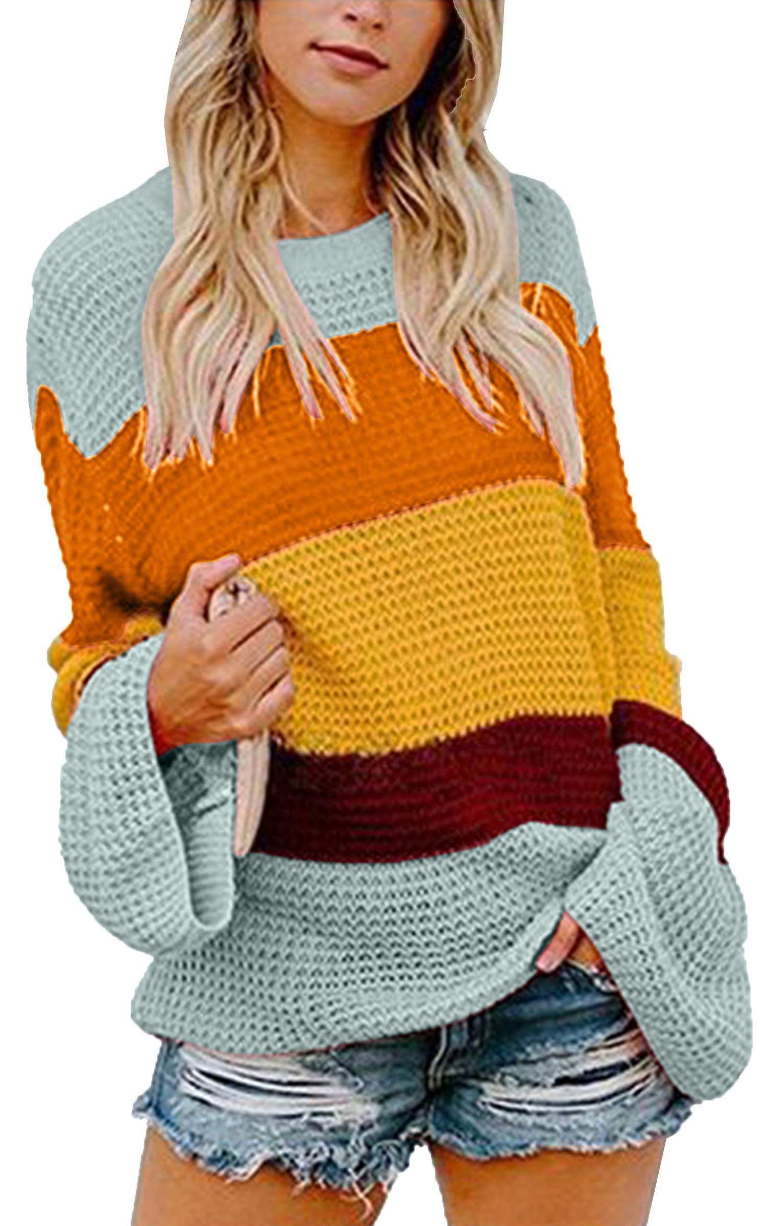 ECOWISH Womens Color Block bell sleeve Knitted Sweater Drop Shoulder Textured Casual Pullover Light Blue M