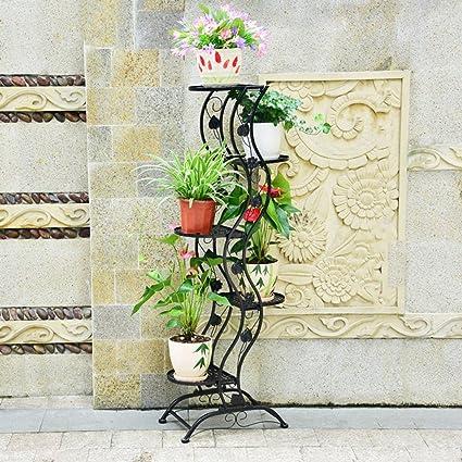 BSNOWF-bastidores de flores Soporte De Flores Hierro Arte Piso Pastoral Vida Balcón Sala De Estar Patio Maceta ...