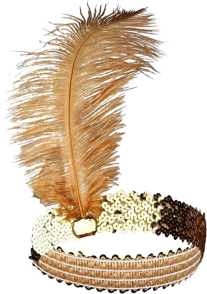 1920s Bandeau Flapper Perle Collier Satin Gants Feibao Années 1920 Accessoires Set Flapper Headpiece Charleston Déguisements Accessoires
