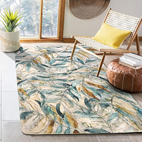 HAOCOO Leaves Area Rugs 4 x5.3 Large Modern Country Style Throw Rugs Super Soft Velvet Non-Slip Accent Distressted Floor Carpet