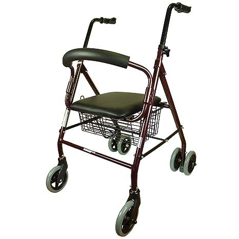 Andador para adultos, Aluminio, Plegable, Asiento y respaldo ...