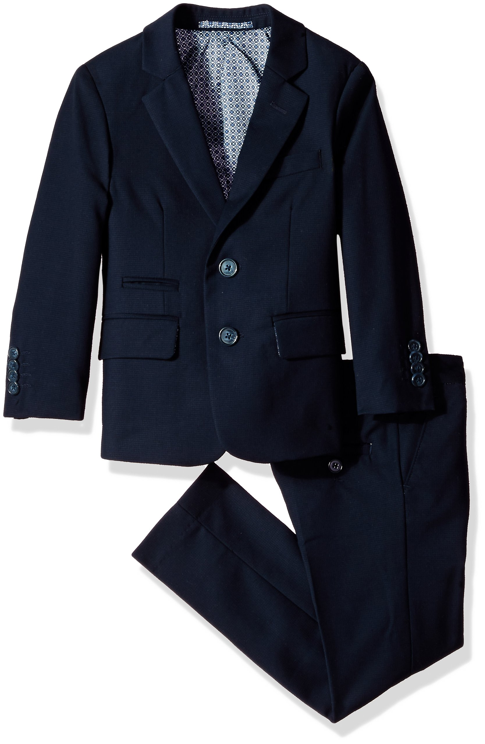 Isaac Mizrahi Little Boys' Textured 2pc Slim Fit Solid Suit, Navy, 6