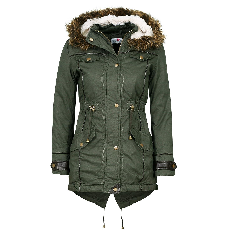 Damen Fell Übergroße Kapuzen Damen Fishtail Militär Parka Jacke Damen Winter Mantel Größe 810121416