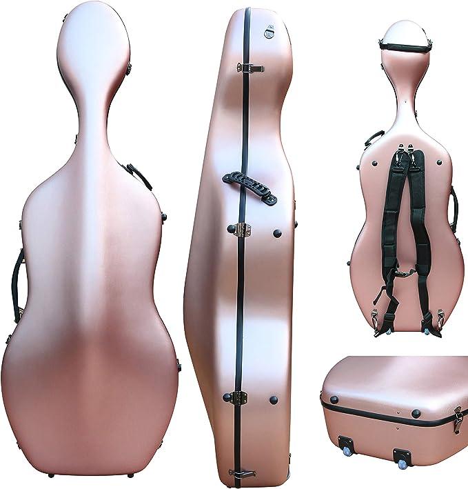 Funda para violonchelo 4/4, mezcla de fibra de carbono, tamaño completo, carcasa rígida, resistente a la luz, 4,5 kg, soporta 300 kg de presión: Amazon.es: Instrumentos musicales