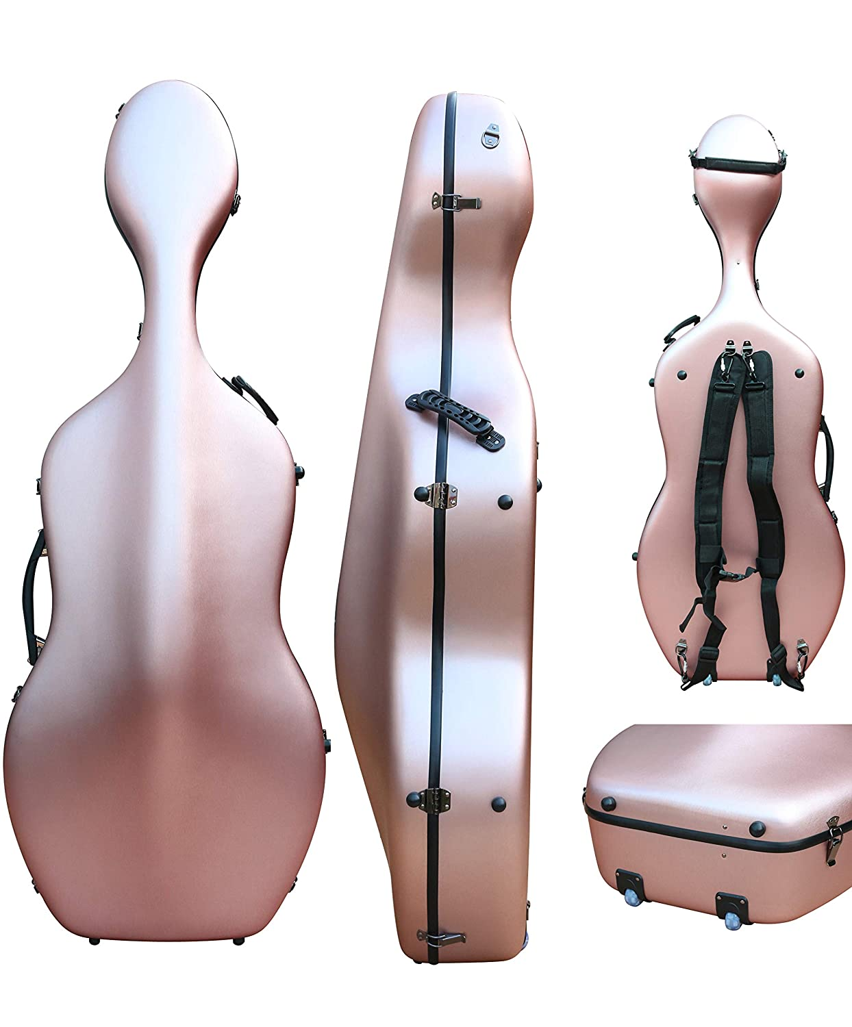 4/4 Cello case Mixed Carbon Fiber Full size Hard case Hard Shell Strong Light 4.5kg Support 300kg pressure (rose-gold)