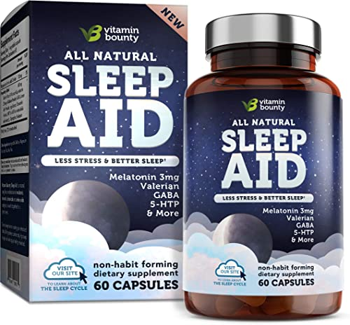 Vitamin Bounty Natural Sleep Aid - with 7 Scientifically Proven Ingredients Including Melatonin, Chamomile, Lemon Balm Valerian, 60 Count