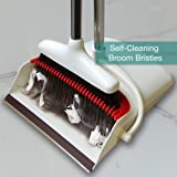 Broom and Dustpan Set by Afan - Self-Cleaning Broom Bristles - Upright Handle and Large Rubber Edge Pan Makes Dust Sweeping Easy -for Office Lobby
