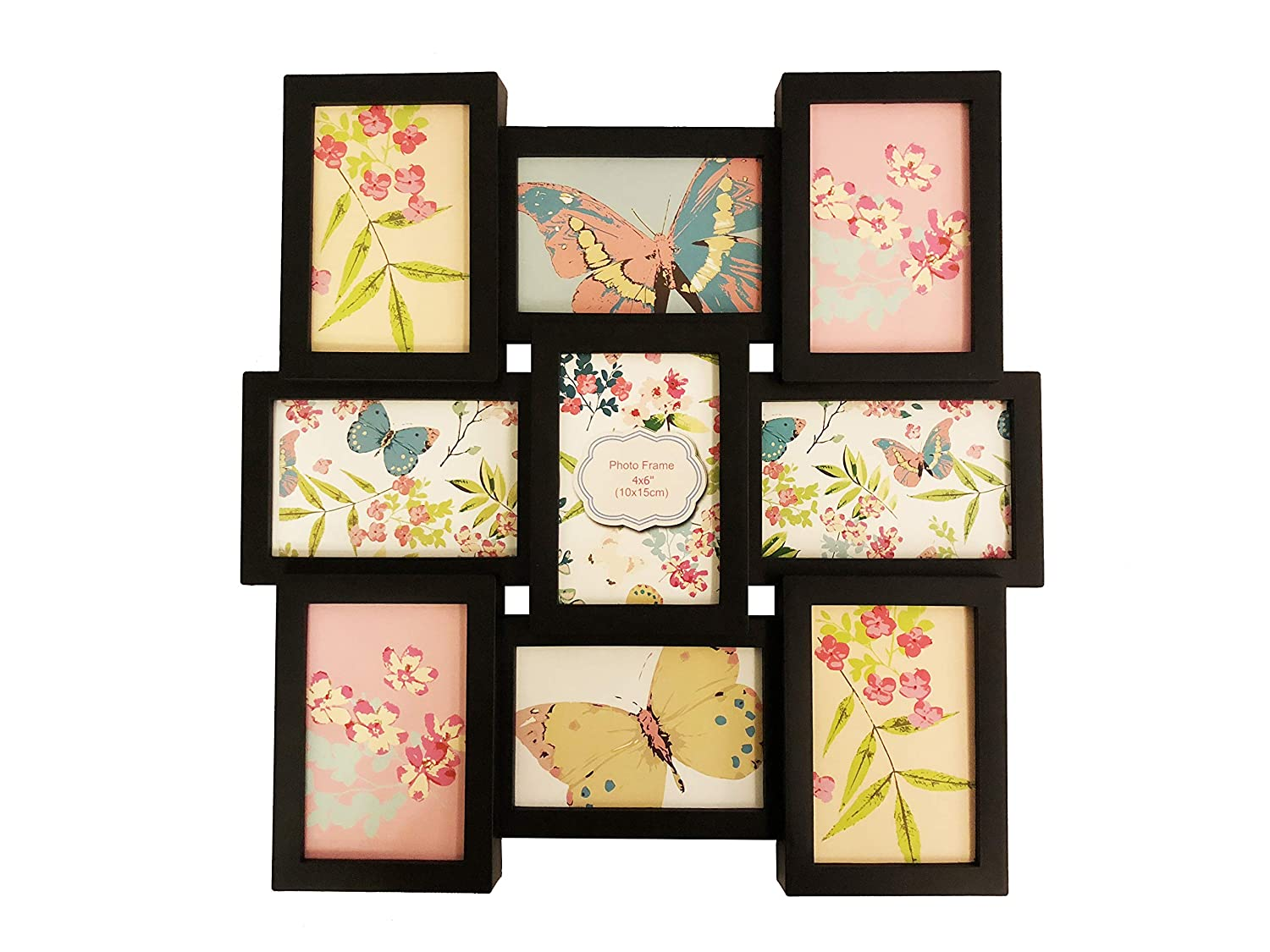 BestBuy Frames Wall Hanging Large 9-Piece Multiple Openings Black Collage Picture Frames for 4-Inch-by-6-Inch Photos
