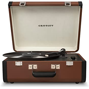 Crosley CR6252A-BR Portfolio Portable Turntable with Bluetooth, Brown/Black