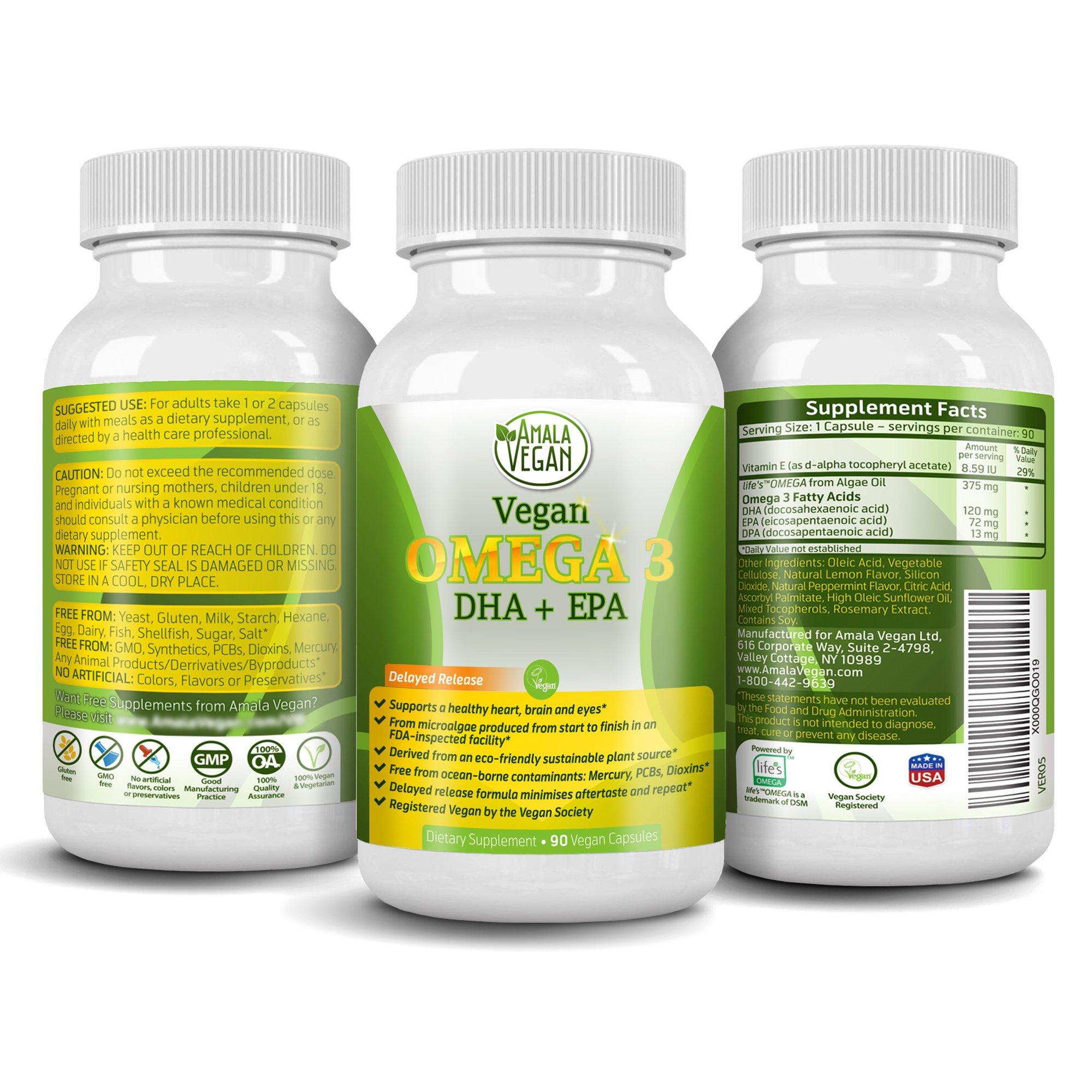 Potent Vegan Omega 3 Supplement w/Essential Fatty Acids, Vitamin E, DHA & EPA - Vegetarian Algae based & Non GMO Time-Release Capsules - Improve Eye, Heart, Brain Health - Better than Fish Oil