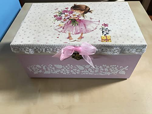 Caja madera decorada a mano pintura relieve para regalo bebé ...