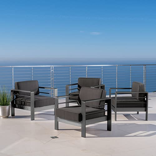 Christopher Knight Home Crested Bay Patio Furniture Outdoor Grey Aluminum Club Chairs with Dark Grey Water Resistant Cushions Set of 4
