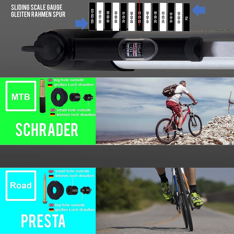 Presta//Schrader 8.3 Bar 120 PSI : port/átil Duradero r/ápido y f/ácil de Usar Compacto VeloChampion Bomba de Bicicleta Alloy 9 con man/ómetro y Parches de reparaci/ón de pinchazos