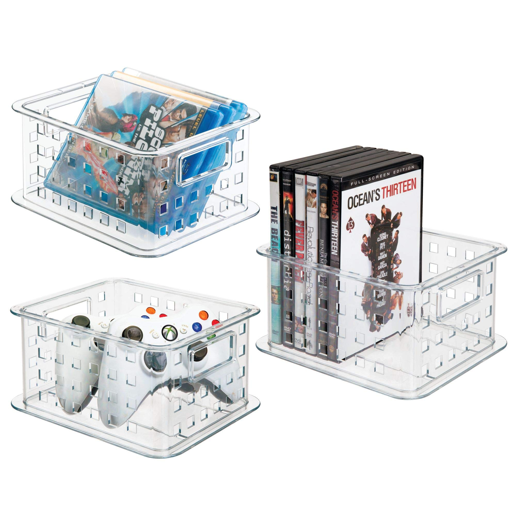 mDesign Plastic Stackable Household Storage Organizer Container Bin with Handles - for Media Consoles, Closets, Cabinets - Holds DVD's, Blu Ray, Video Games, Gaming Accessories - 3 Pack, Clear