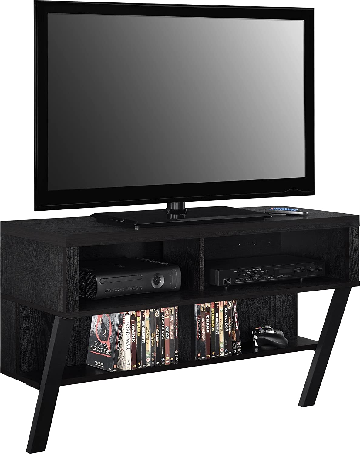 Ameriwood Home Layton Wall Mounted TV Stand for TVs up to 47 , Black Oak