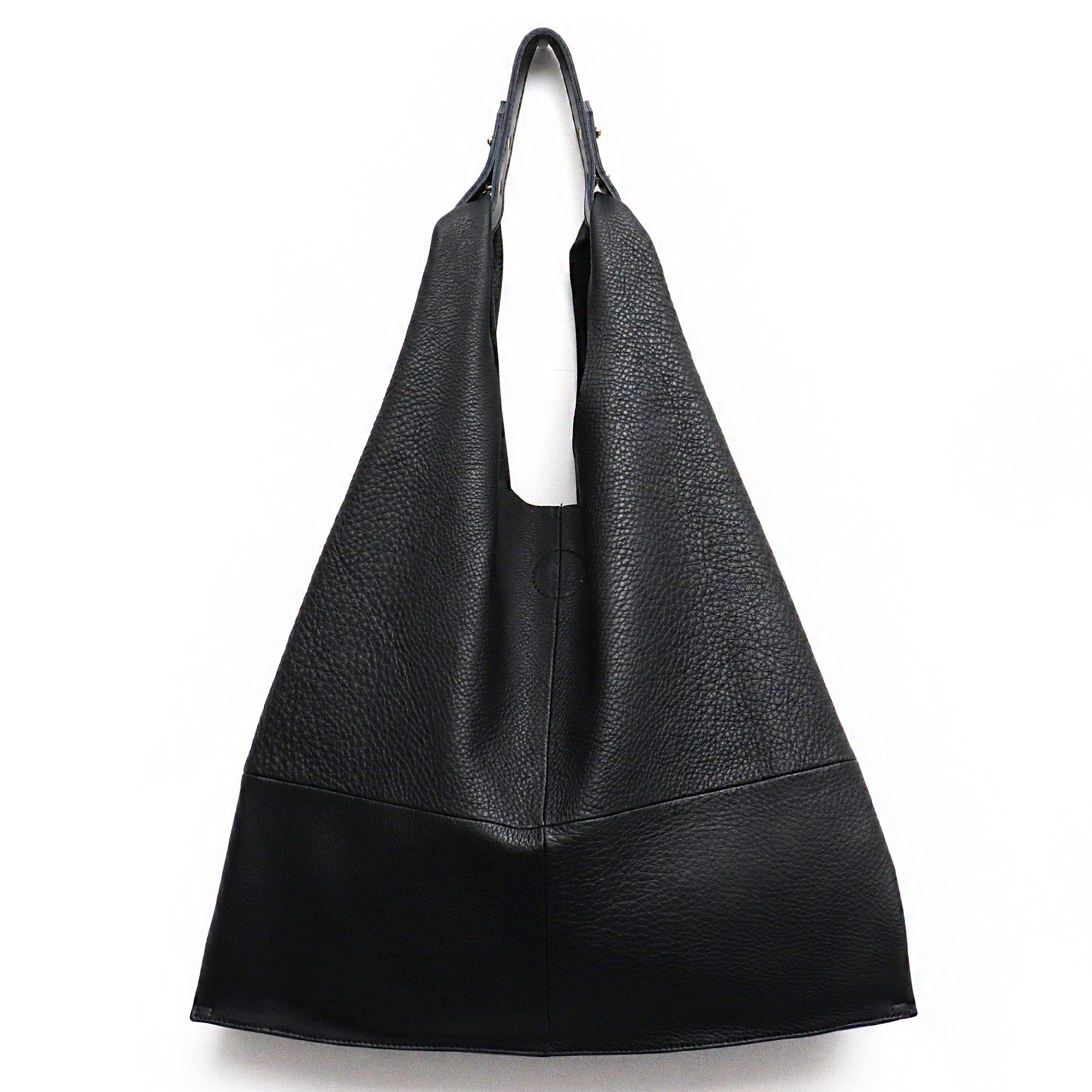 STEPHIECATHY Women's Handbag Genuine Leather Slouchy Hobo Shoulder Bag Large Casual Soft Handmade Tote Bags Ladies Vintage Bucket Snap Shopping Bag with Zipper Cellphone Liner Bag Inside (Black)