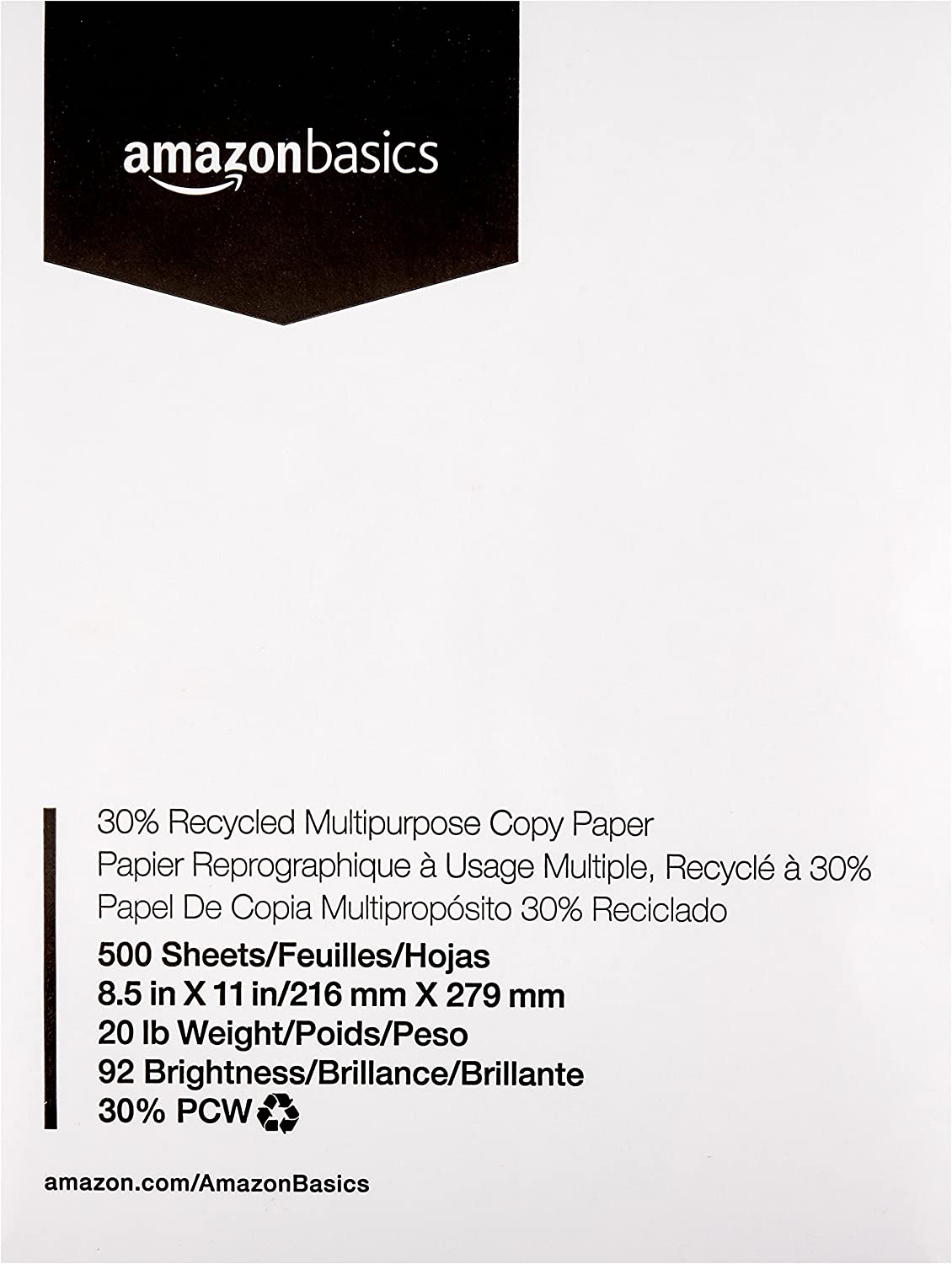 AmazonBasics 30% Recycled Multipurpose Copy Printer Paper - 8.5 x 11 Inches, 1 Ream (500 Sheets)