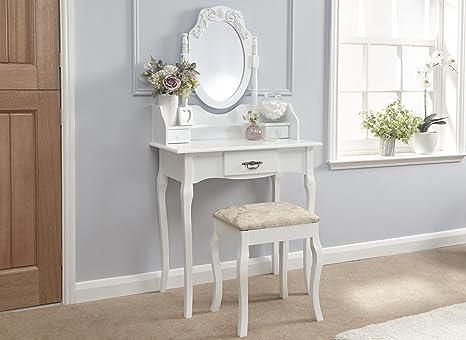 Gfw jessie aspetto tradizionale da toeletta e sgabello white