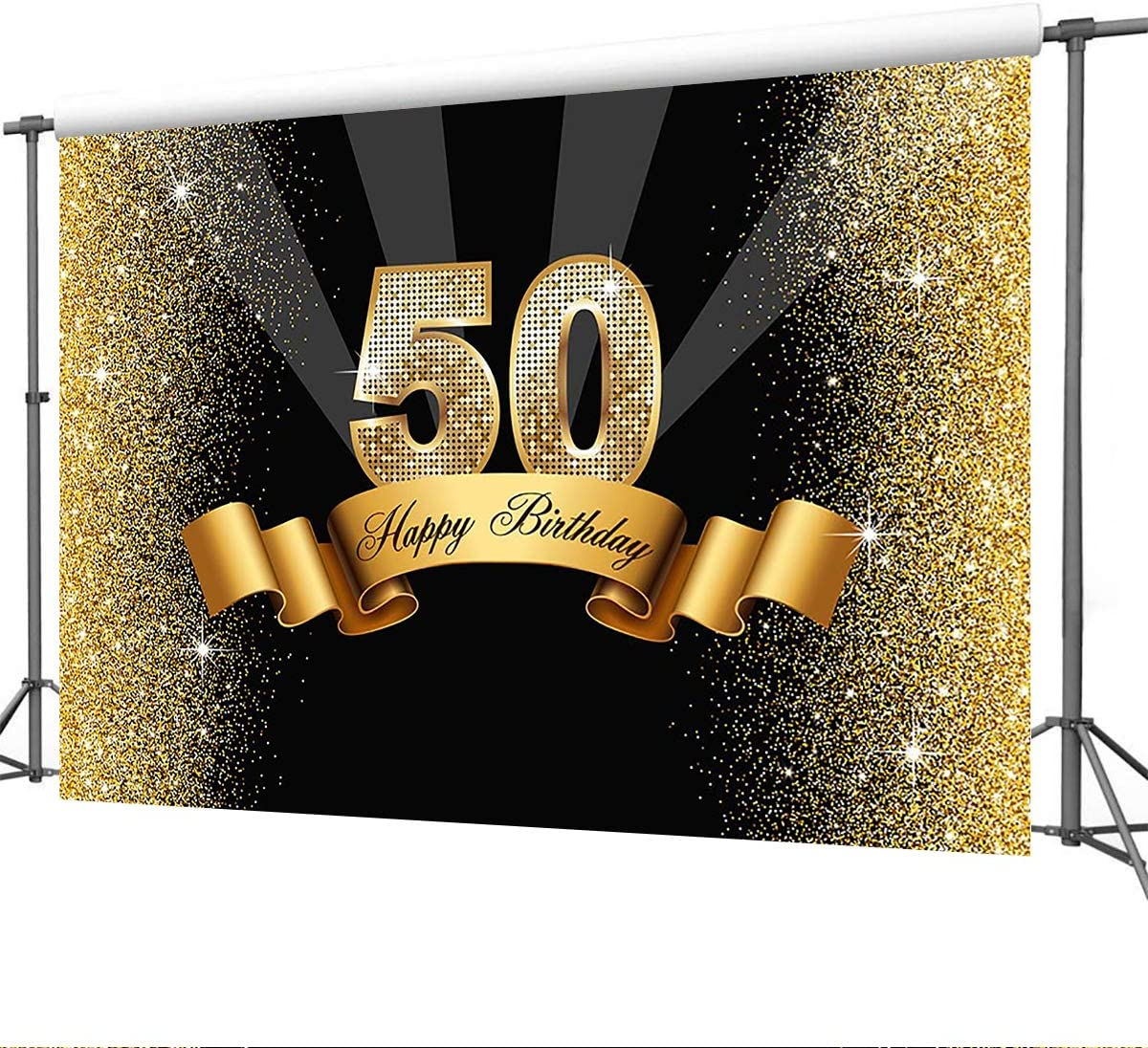 Mehofoto Hintergrund Joyeux 50th Birthday Schwarz Und Kamera