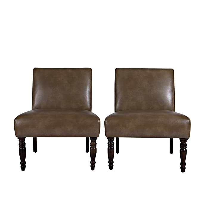 Superieur Amazon.com: Angelo:HOME Bradstreet Chair In Milk Chocolate Brown Renu  Leather, Set Of 2: Kitchen U0026 Dining