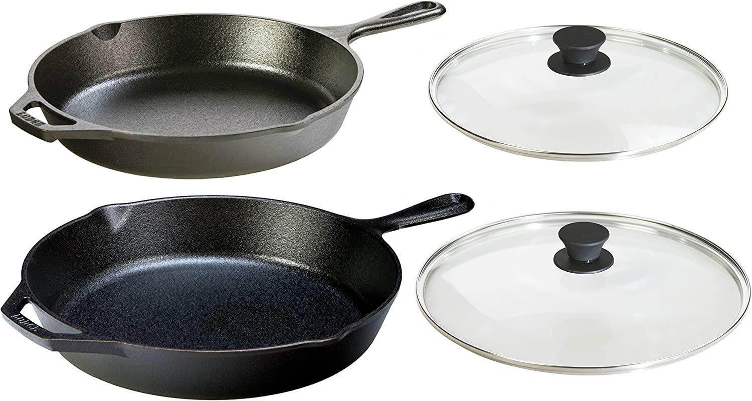 Lodge Seasoned Cast Iron 4 Piece Bundle. Two Sets of Cast Iron Skillets with Tempered Glass Lids. (10.25 Inch Set + 12 Inch Set)