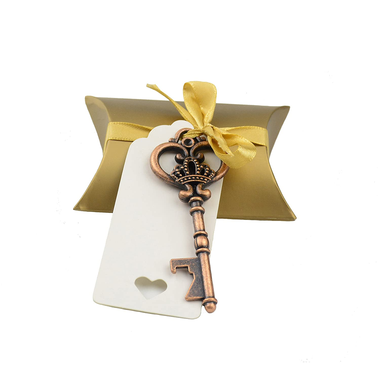 Makhry 40pcs Bomboniera Souvenir Regalo Set Cuscino Candy Box Vintage Skeleton Chiave Apribottiglie Regalo Escort Gift Card Grazie Tag Francese Nastro (Argento Antico)