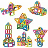 Newisland Magnetic Building Blocks, 36 Pieces Set Kids Magnet Construction Toys Rainbow Color for Creativity Educational,with Container Bag