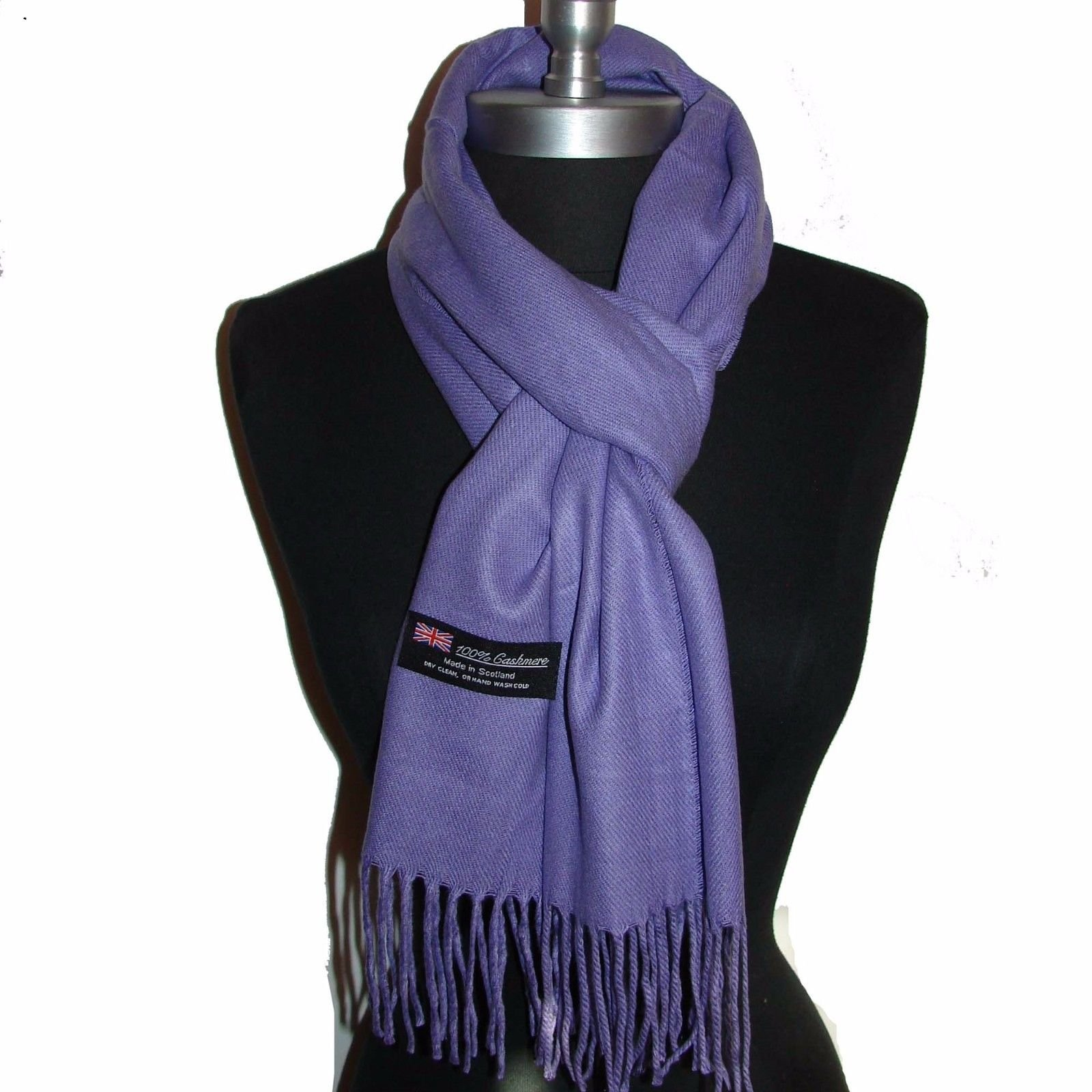 Easy-W Purple_Scotland Wool Scarves Warm Thick Winter Scarf Solid