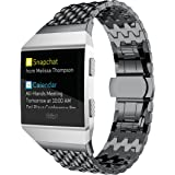 Kartice for Fitbit Ionic Watch Bands Accessories,Fitbit Ionic Stainless Steel Metal Link WristBand Replacement Strap with Folding Clasp for Fitbit Ionic (T-Black)