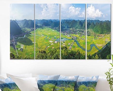 Amazon Com Designart Rice Field Valley Vietnam Panorama Landscape Wall Art Canvas Print 48x28 4 Piece Pt11218 271 28 H X 48 W X 1 D 4p Posters Prints