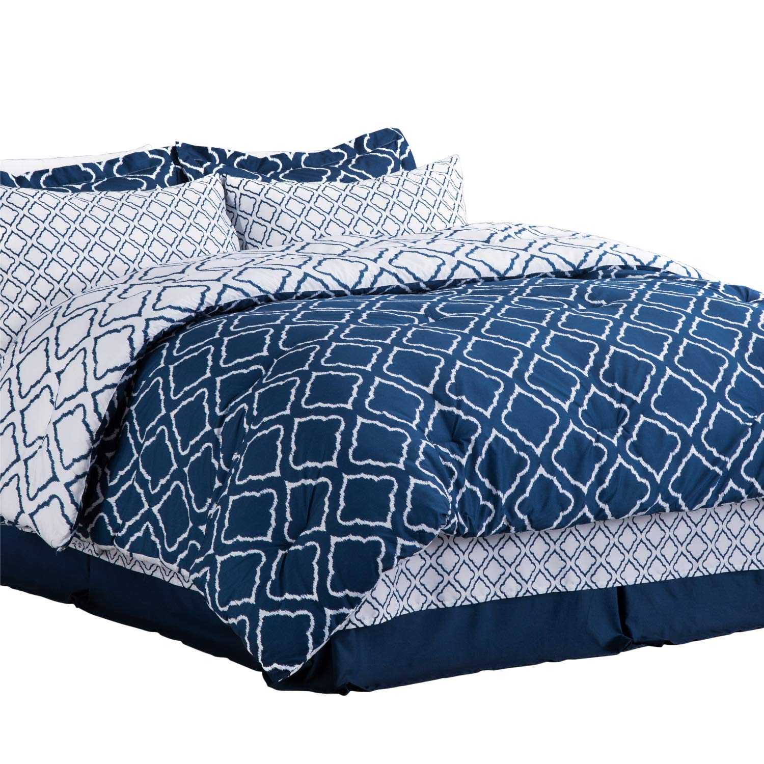 Bedsure 8-Piece Bed-in-A-Bag Queen Size (88X88 inches), Navy Blue Down Alternative Comforter Set (Comforter, 2 Pillow Shams, Flat Sheet, Fitted Sheet, Bed Skirt, 2 Pillowcases)