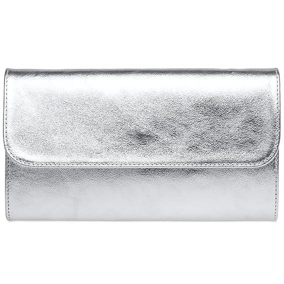 CASPAR TA364 Sac à main enveloppe clutch élégant pour femme - Pochette de soirée avec longue chaînette, Couleur:argenté;Taille:One Size