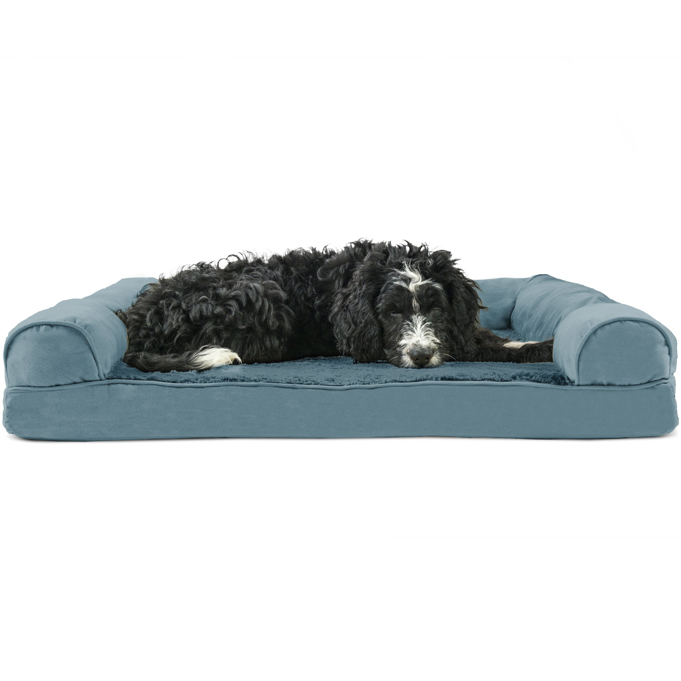 FurHaven Pet Dog Bed | Orthopedic Plush & Suede Sofa-Style Couch Pet Bed for Dogs & Cats, Deep Pool, Large