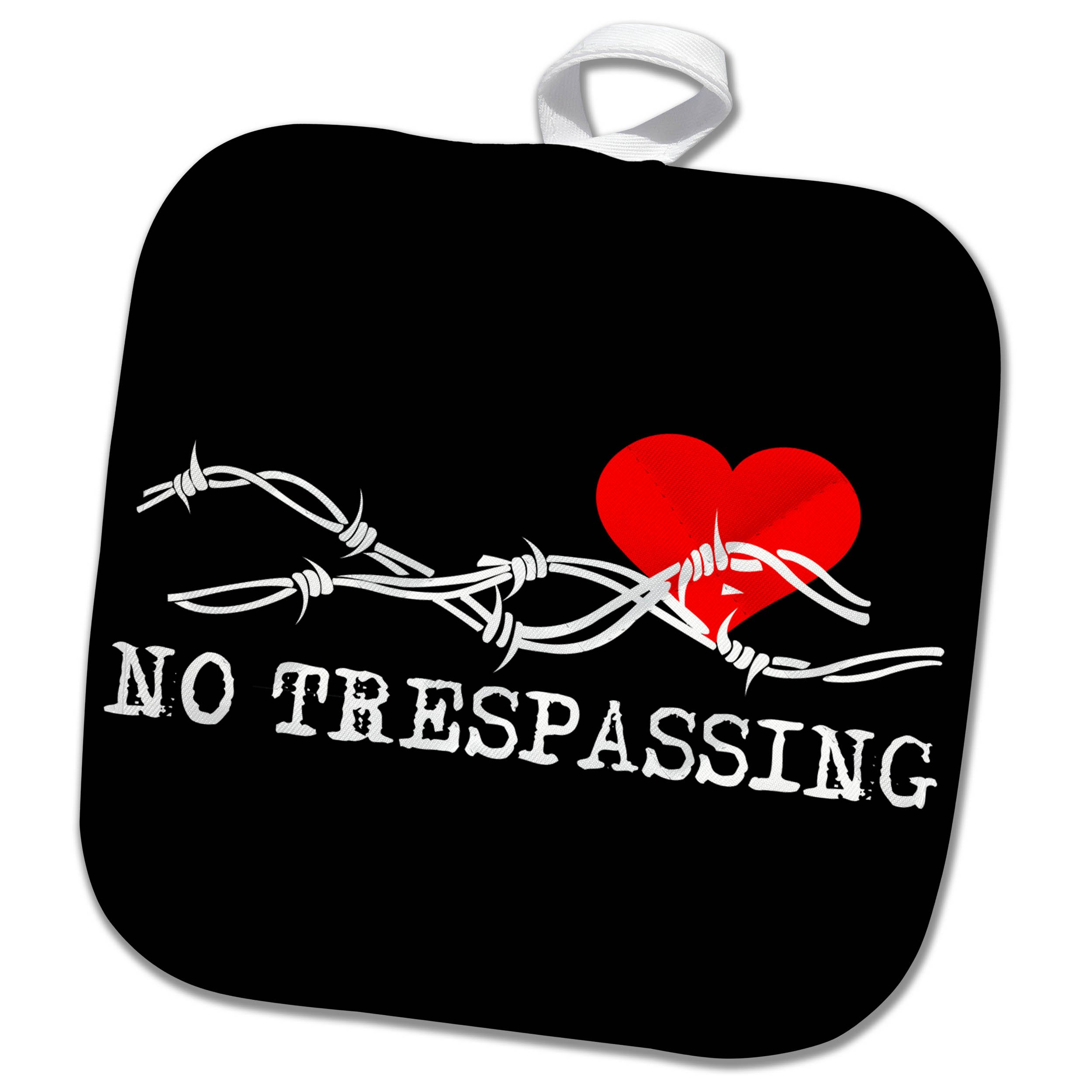 3dRose Alexis Design - Love - Barbed wire, red heart, no trespassing white text on black - 8x8 Potholder (phl_272313_1)
