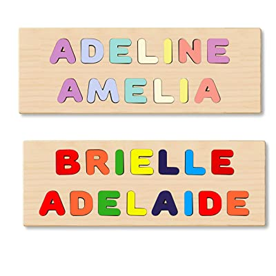 Wooden Personalized 2 Name Puzzle - Choose up to 12 Letters Each Row: Toys & Games