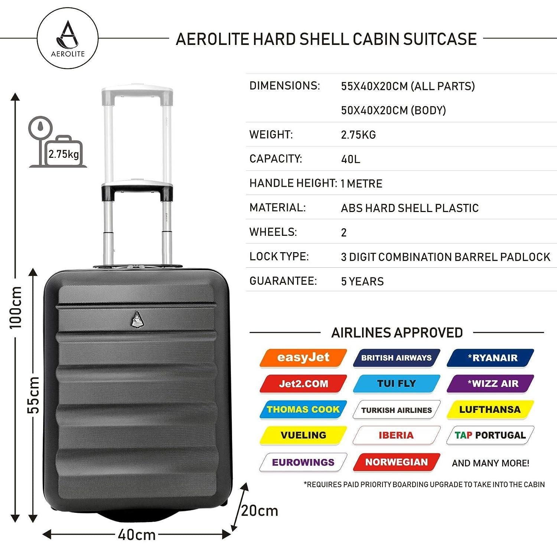 Aerolite Ryanair 55x40x20cm Maleta de Equipaje de Mano con Funda Dura Maleta + 35x20x20cm Maleta de Talla máxima (Carbón + 2nd Bolso Negro): Amazon.es: ...