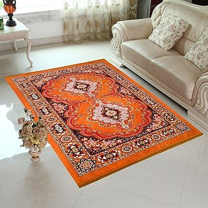 Home Elite Abstract Microfibre Carpet - 84x60, Orange