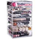 Beautify Extra Large 8 Tier Clear Acrylic Cosmetic Makeup Cube Organizer with 7 Drawers, Upper Compartment & 2 Removable Dividers - 20 x 12 x 12 inches